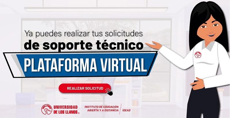 Esta imagen le permite ingresar al formulario de soporte técnico de la Plataforma Virtual, en él puede hacer sus solicitudes.